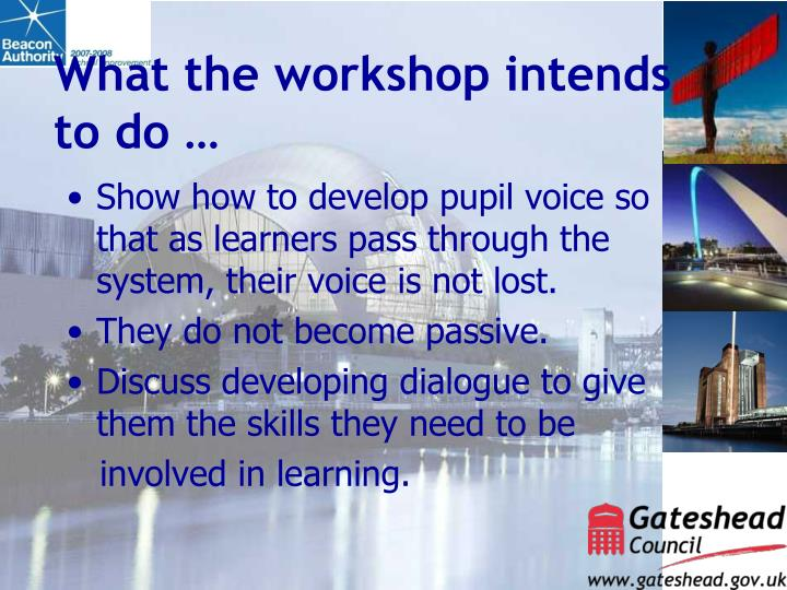 What the workshop intends to do …