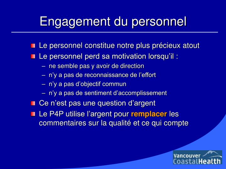 Engagement du personnel