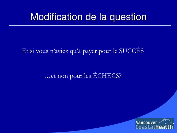 Modification de la question