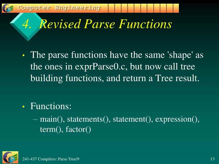 4.  Revised Parse Functions