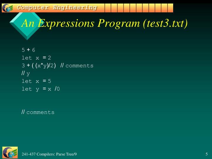 An Expressions Program (test3.txt)