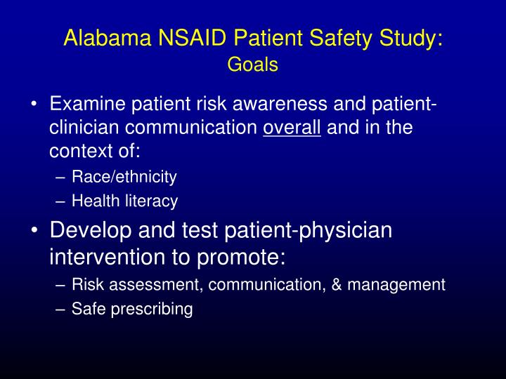 Alabama NSAID Patient Safety Study: