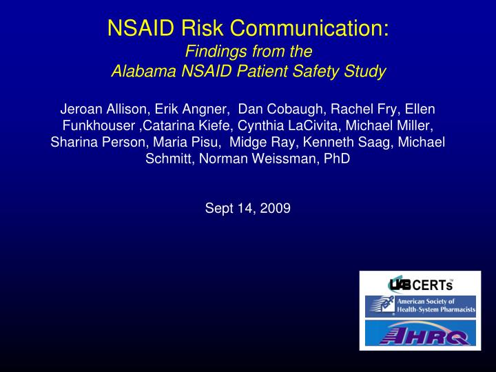 NSAID Risk Communication: