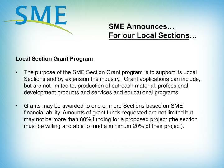 SME Announces…