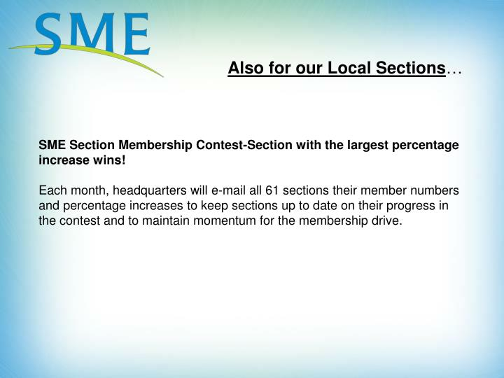 Also for our Local Sections