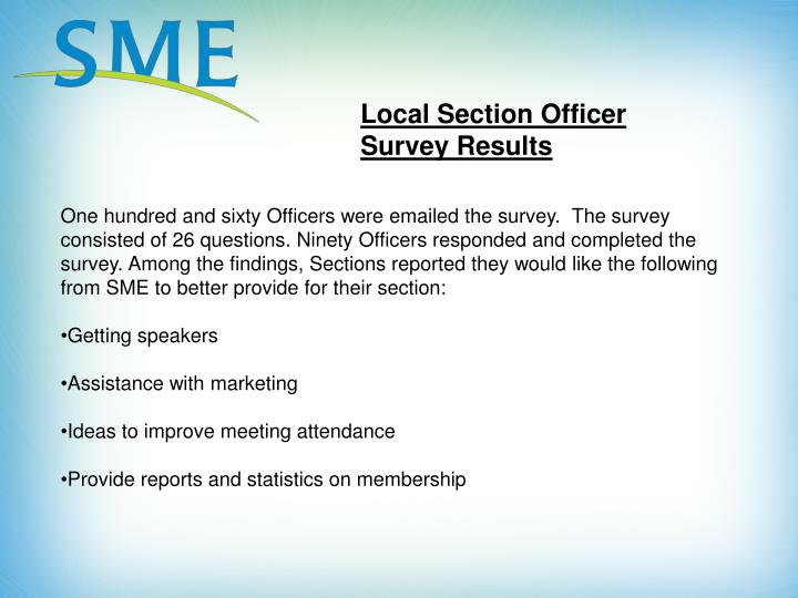Local Section Officer Survey Results