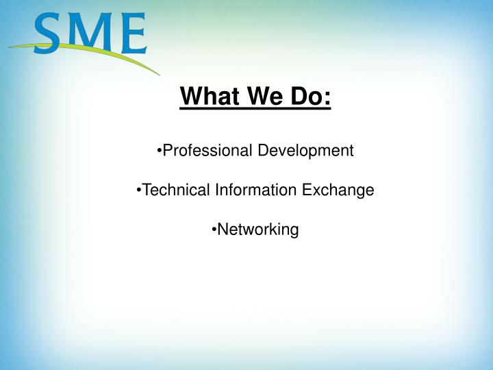 What We Do: