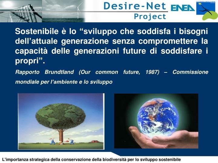"""Sostenibile è lo """"sviluppo che soddisfa i bisogni dell'attuale generazione senza compromettere la capacità delle generazioni future di soddisfare i propri""""."""