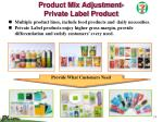 product mix adjustment private label product