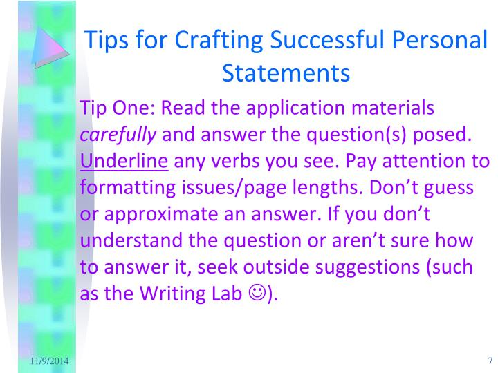 Tips for Crafting Successful Personal Statements