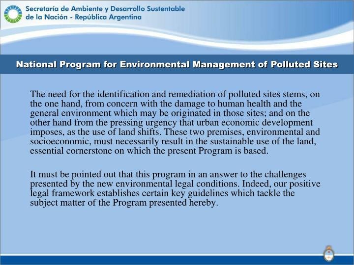 National Program for Environmental Management of Polluted Sites