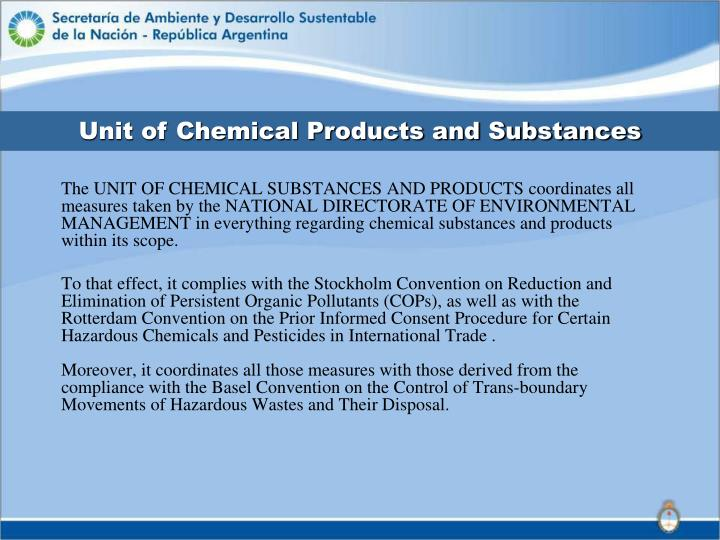 Unit of Chemical Products and Substances