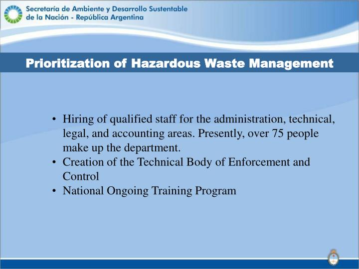 Prioritization of Hazardous Waste Management