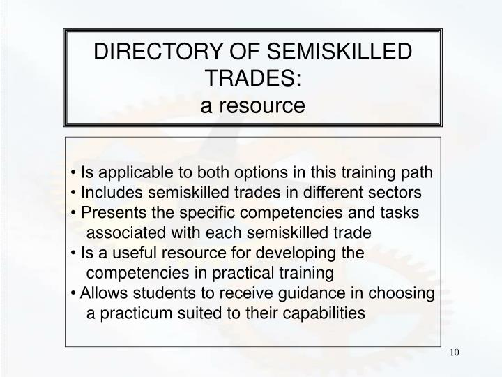 DIRECTORY OF SEMISKILLED TRADES: