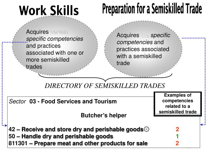 Examples of competencies related to a semiskilled trade