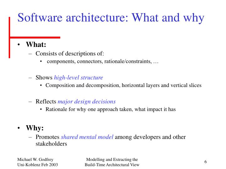 Software architecture: What and why