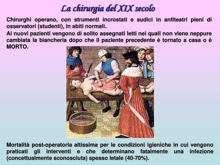 La chirurgia del XIX