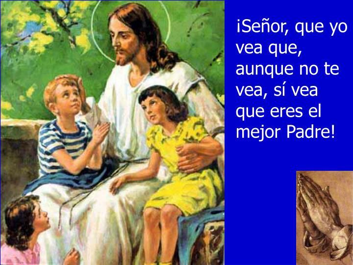 ¡Señor, que yo vea que, aunque no te vea, sí vea que eres el mejor Padre!