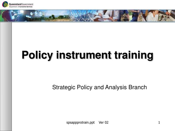 Policy instrument training