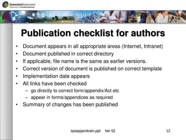 Publication checklist for authors