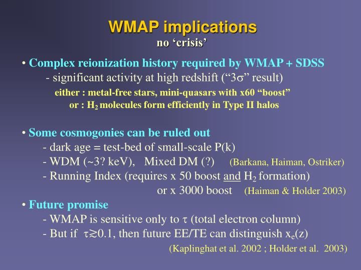 WMAP implications