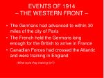 events of 1914 the western front