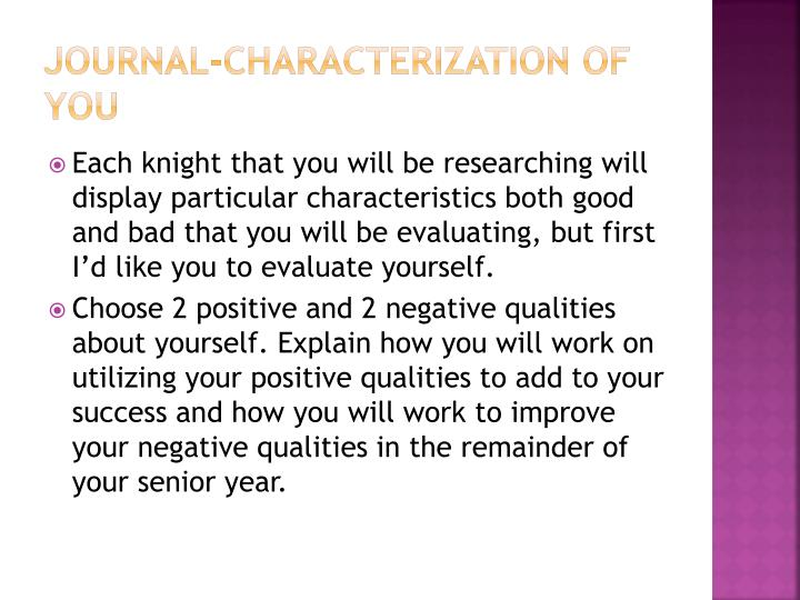 Journal-Characterization of You