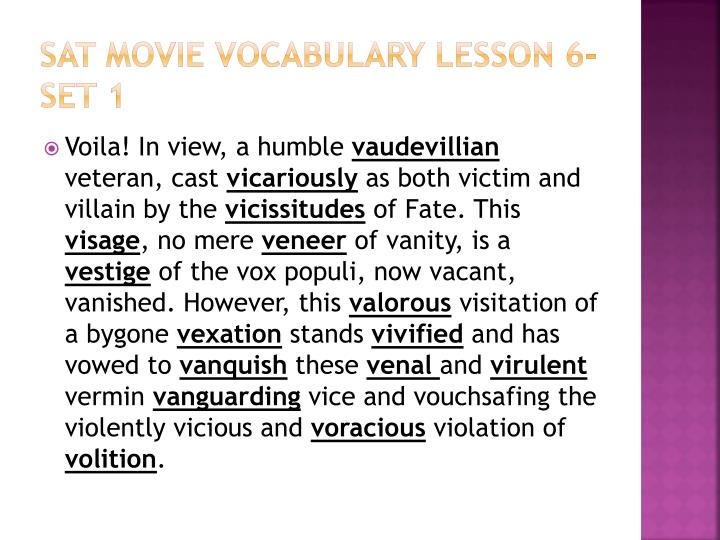 Sat movie vocabulary lesson 6 set 1