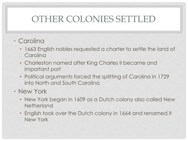Other Colonies Settled