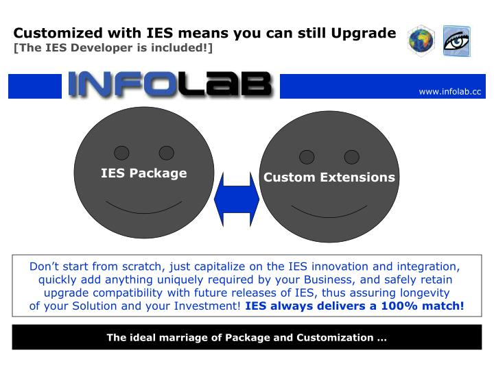 Customized with IES means you can still Upgrade