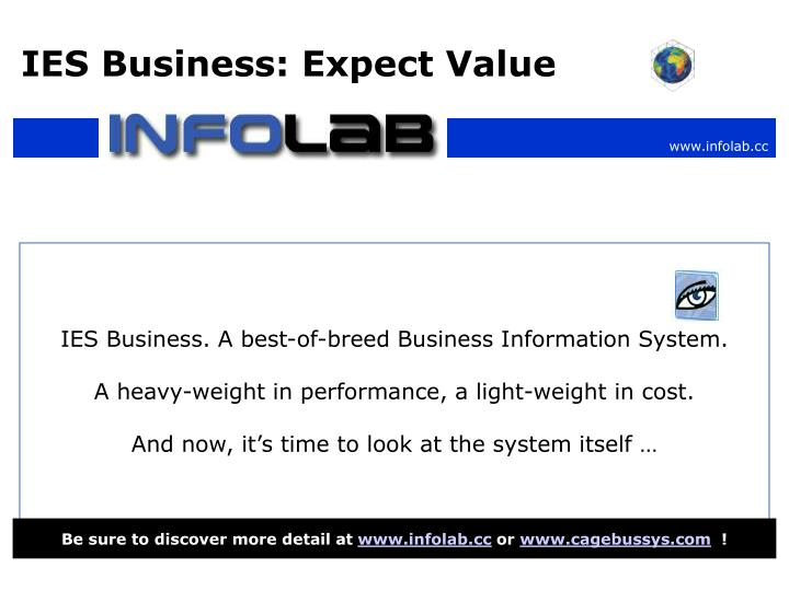 IES Business: Expect Value