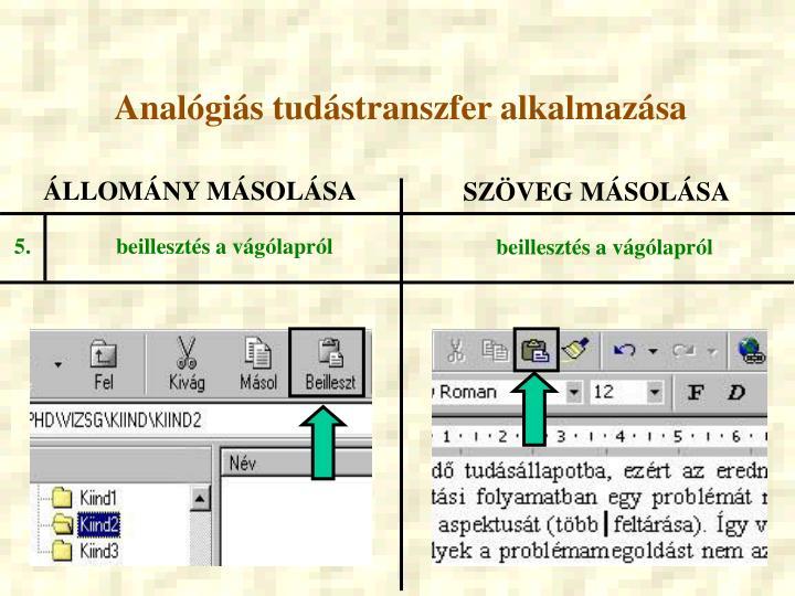 Analógiás tudástranszfer alkalmazása