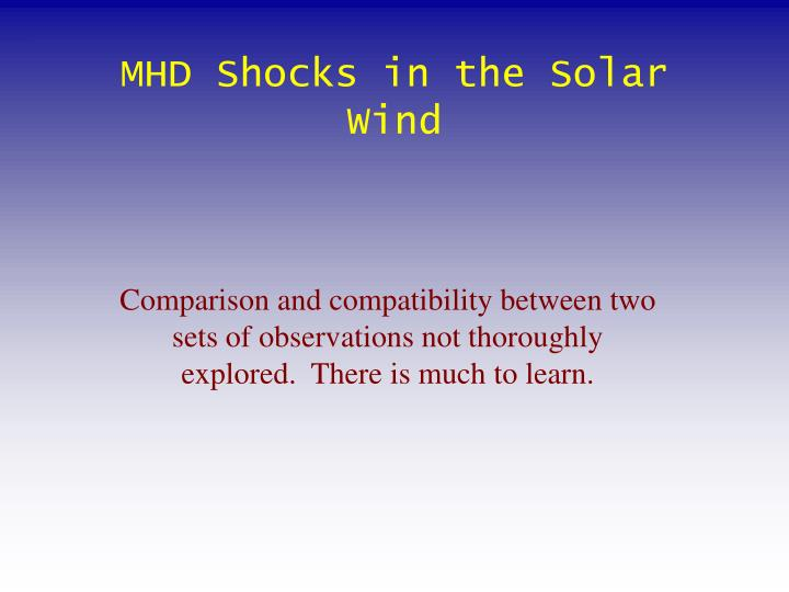 MHD Shocks in the Solar Wind