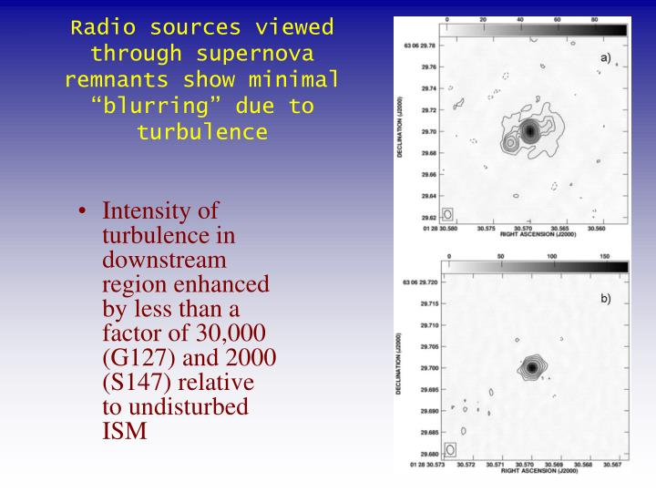"Radio sources viewed through supernova remnants show minimal ""blurring"" due to turbulence"