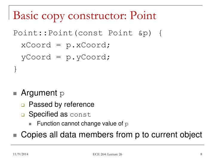Basic copy constructor: Point