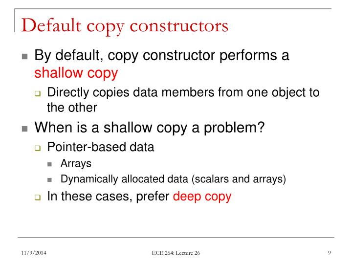 Default copy constructors