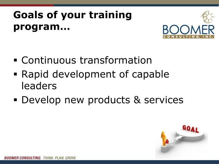 Goals of your training program…