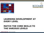 learning development at every level match the core skills to the various levels