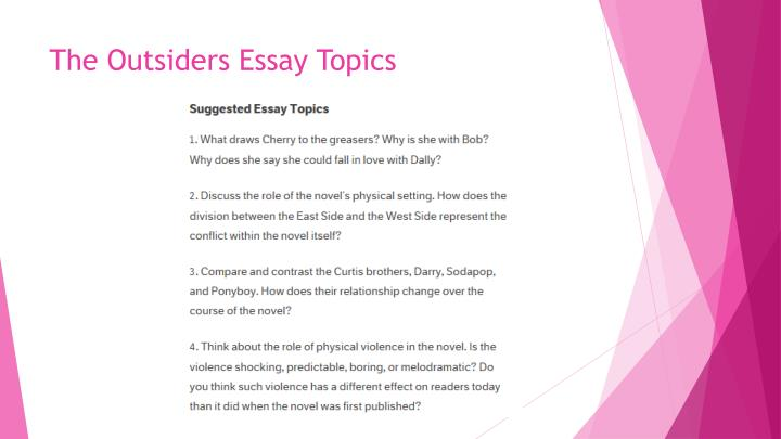 the outsiders essays The outsiders essay honors language & literature/broughton due date:  december 15 choose one of the following to describe and discuss the themes,.
