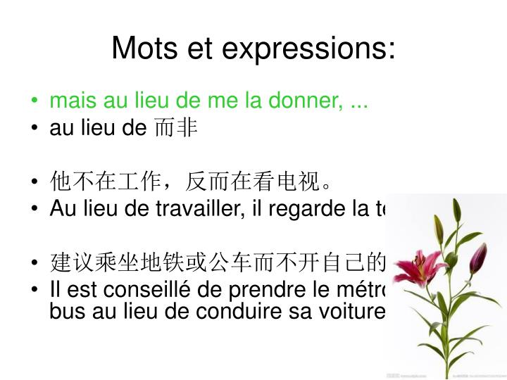 Mots et expressions: