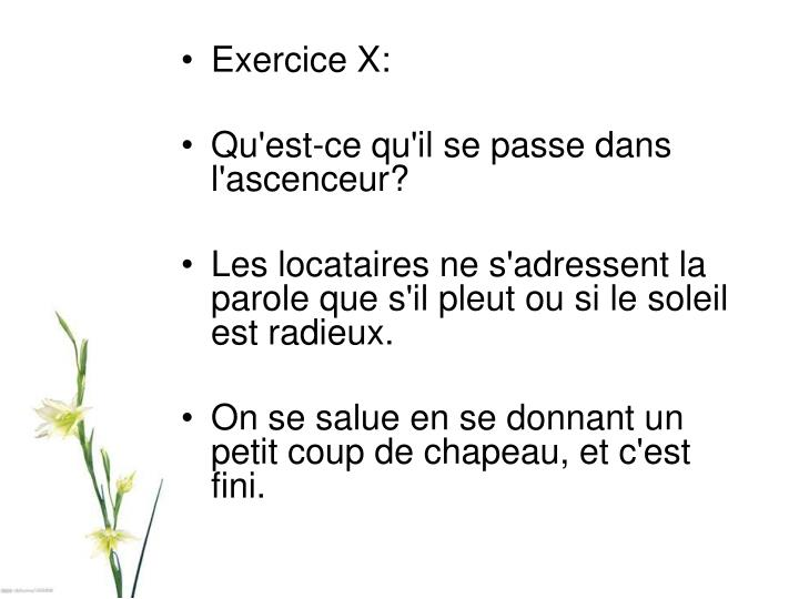 Exercice X: