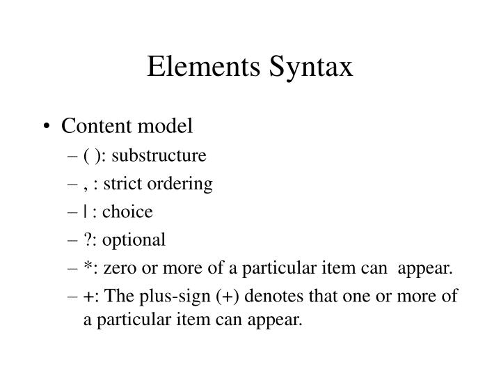 Elements Syntax
