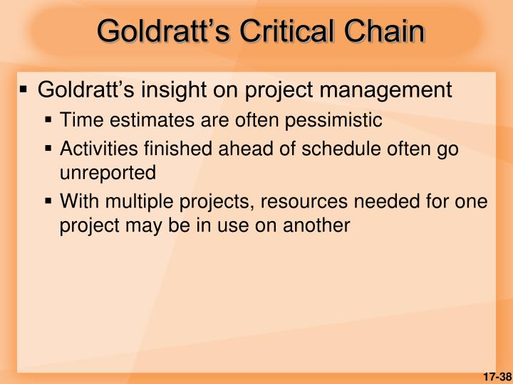 Goldratt's Critical Chain