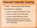 time cost trade offs crashing