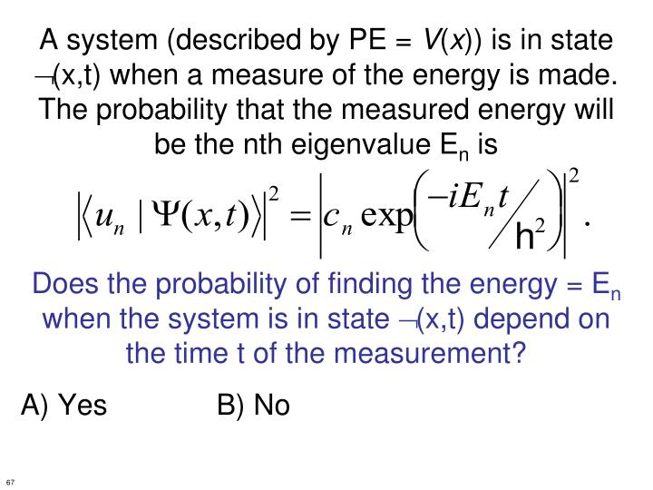 A system (described by PE =