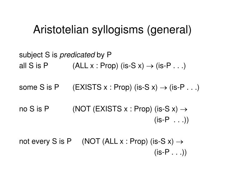 Aristotelian syllogisms (general)