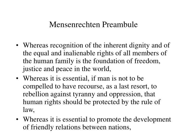 Mensenrechten Preambule