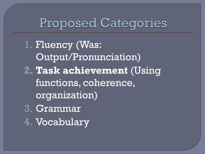 Proposed categories
