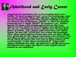 adulthood and early career