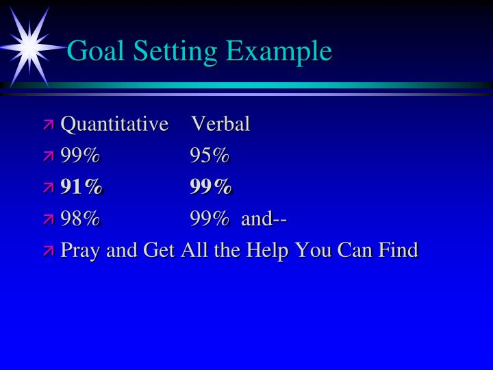 Goal Setting Example